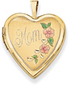 Mom Heart Locket, 14K Gold