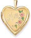 Mom Heart Locket, 14K Gold