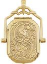 14K Gold Paisley Swivel Locket Pendant