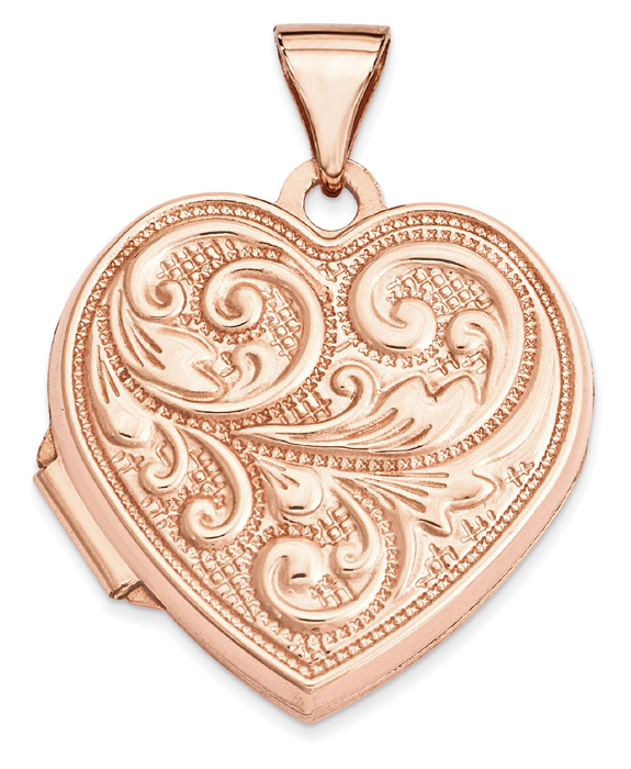 14K Rose Gold Paisley Heart Locket Pendant