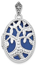 14K White Gold Oval Tree Locket Necklace with Blue Fabric
