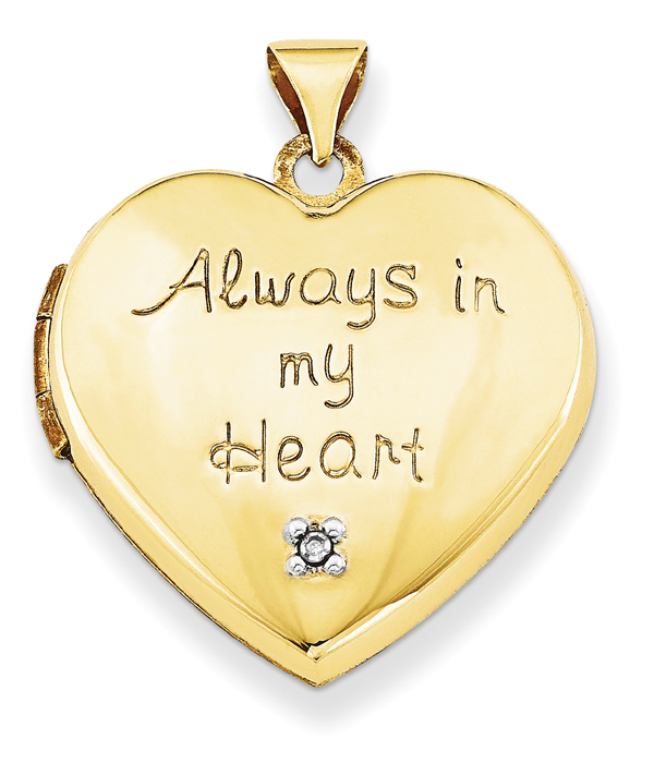 Always In My Heart Locket Pendant in 14K Gold with Diamond