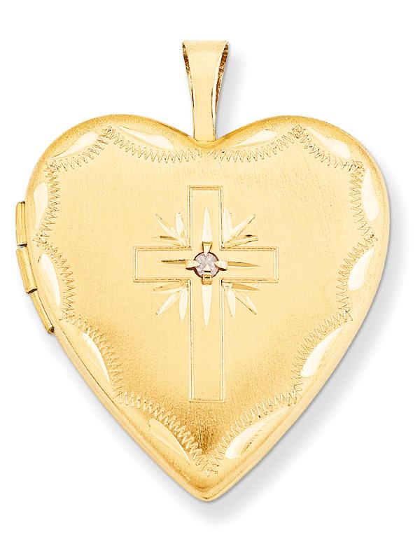Christian Cross Heart Locket Pendant with Diamond, 14K Gold