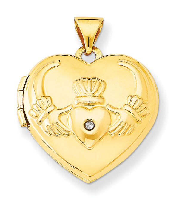 Claddagh Heart Locket, 14K Gold
