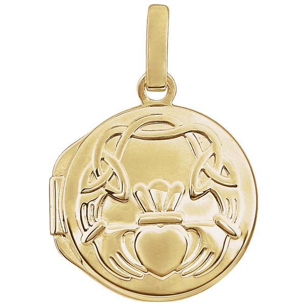 Claddagh Locket Pendant Necklace, 14K Gold