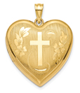Cross Heart Floral Locket Necklace in 14K Gold