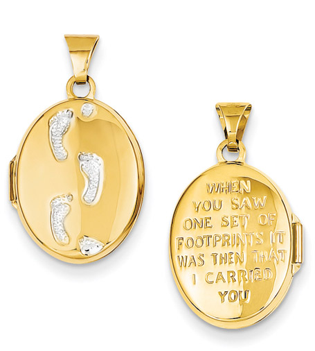 Footprints in the Sand Gold Locket Pendant