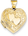 14K Gold Heart Locket with Two Hearts