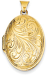 Oval Scroll Locket, 14K Gold