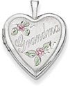 Grandma Flower Heart Locket in 14K White Gold