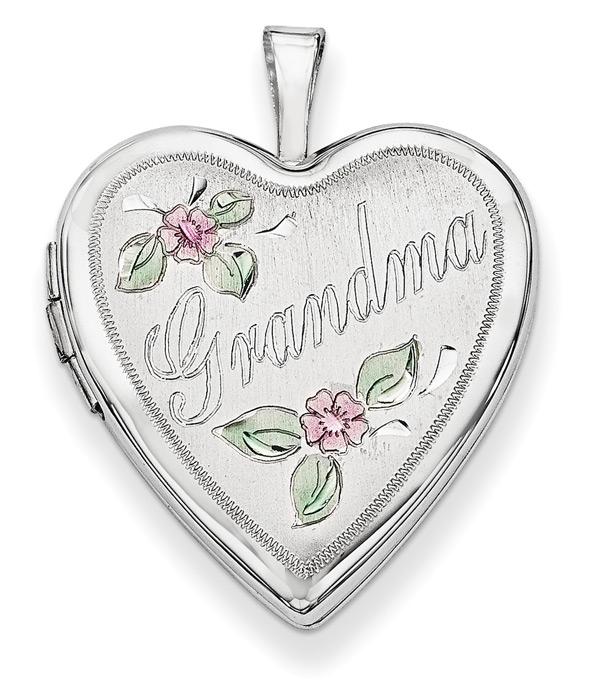 Grandma Flower Heart Locket in 14K White Gold