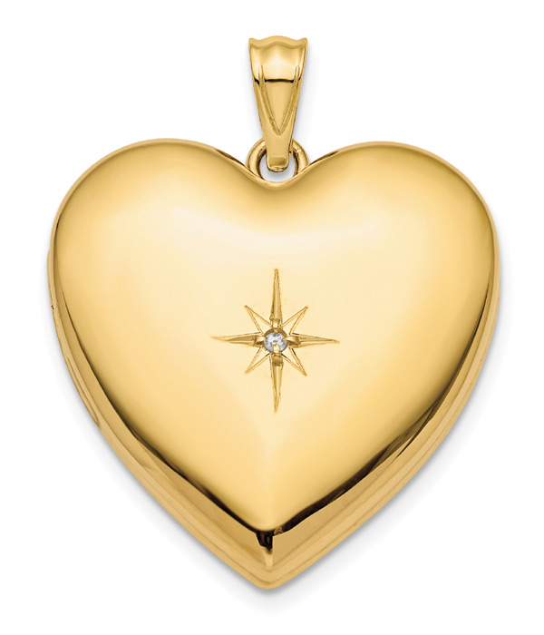 Heart Locket Necklace with Diamond in 14K Gold