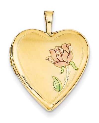 Heart Locket with Enameled Rose in 14k Yellow Gold