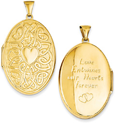Large Celtic Heart-Knot Oval Locket Pendant, 14K Gold