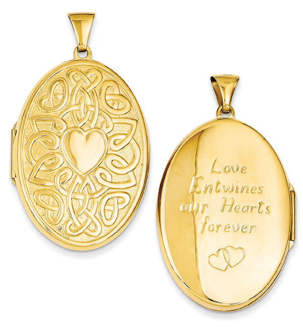 Large Celtic Heart-Knot Oval Locket Pendant, 14K Gold