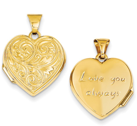 Love You Always 14K Gold Heart Locket