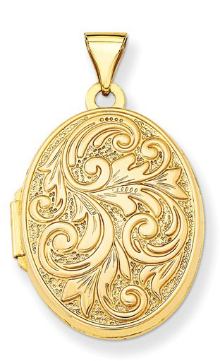 Love You Always 14K Gold Locket with Paisley Design