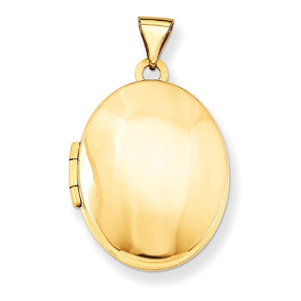 Medium Plain Oval Locket Necklace, 14K Gold