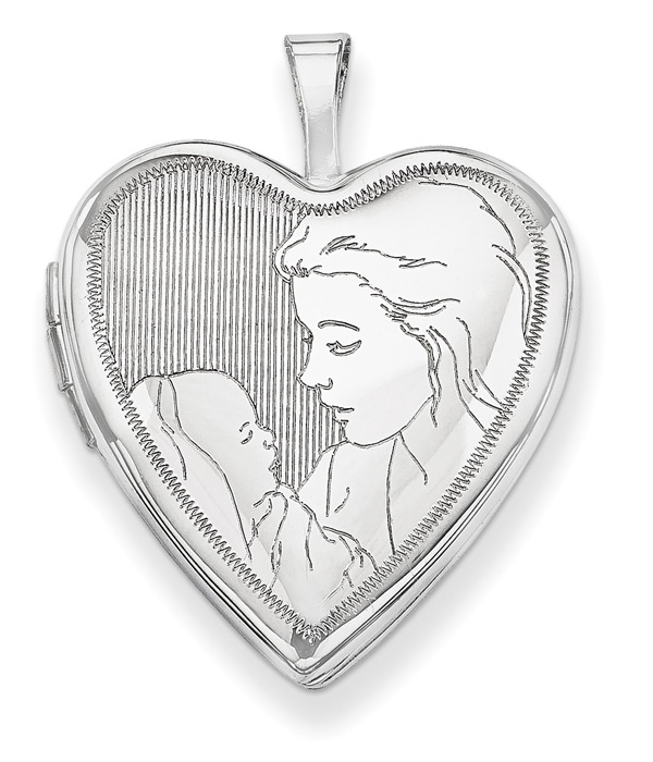 Mom and Her Baby Heart Locket Necklace in 14K White Gold