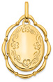 Movable Dancing Oval Flower Locket Pendant in 14K Gold