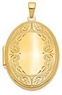 Engravable Oval Scroll Locket Necklace in 14K Gold