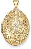 Oval Scroll Locket, 14K Gold
