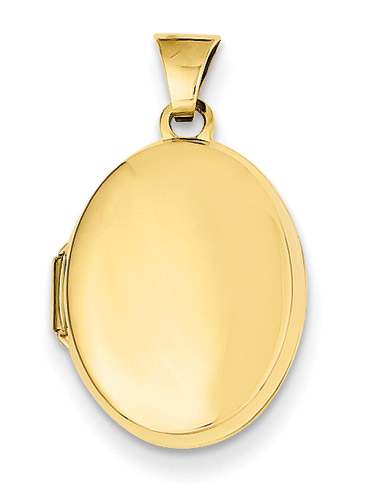 14K Gold Plain Oval Locket