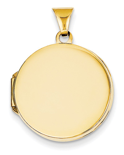 Plain Round Locket in 14K Yellow Gold