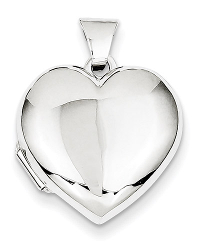 Plain 14K White Gold Heart Locket