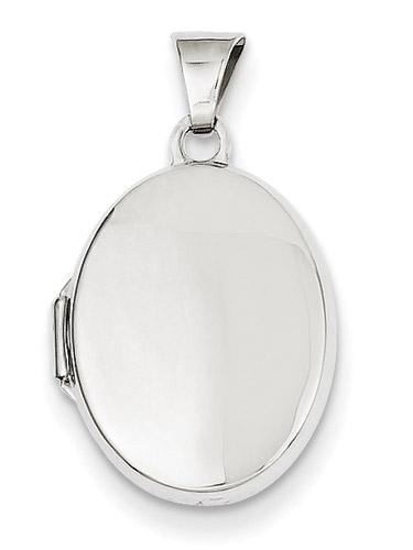 Plain 14K White Gold Oval Locket