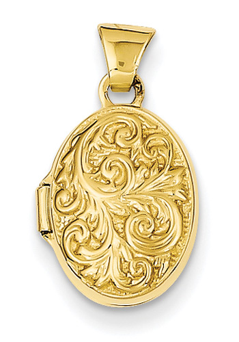 Small Paisley 14K Gold Oval Locket
