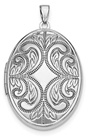 Sterling Silver Oval Scroll Locket Necklace