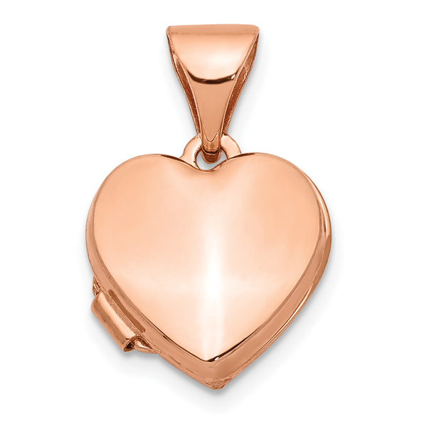 Small 14K Rose Gold Heart Locket Pendant Necklace