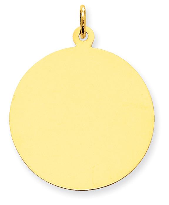 1 Inch Engravable Disc Charm Pendant, 14K Gold