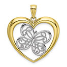 10K Gold Two-Tone Beaded Butterfly Heart Pendant