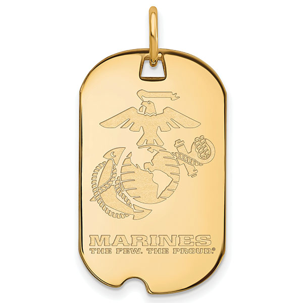 10K Solid Gold US Marines Dog Tag Necklace Pendant