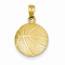 14K Gold Basketball Pendant