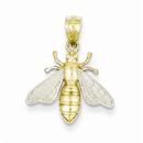 14K & Rhodium Bee Pendant