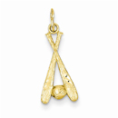 Baseball Bats & Ball Pendant, 14K Gold