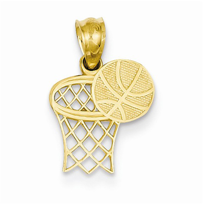 Basketball & Hoop Pendant, 14K Gold
