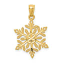Snowflake Diamond-Cut Pendant, 14K Gold