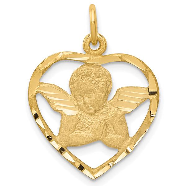 14K Gold Angel Heart Necklace Pendant