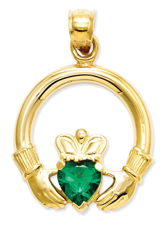 14K Gold Claddagh Pendant with Green Heart CZ Stone