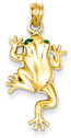 14K Gold Frog Pendant with Green Enamel Eyes