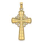 14k gold women's grid pattern cross pendant with halo