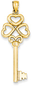 14K Gold Heart Key Pendant