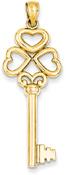 14K Gold Heart Key Pendant