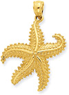 Moving Starfish Pendant, 14K Gold
