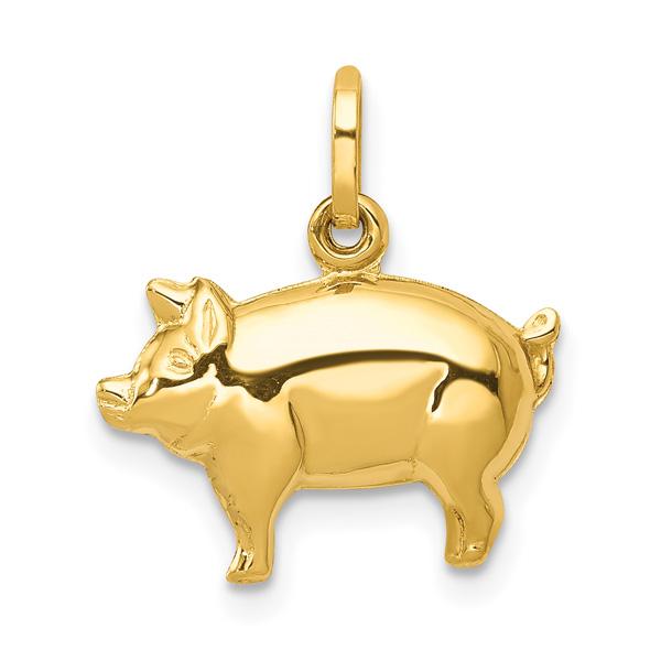 Pig Charm Pendant, 14K Gold