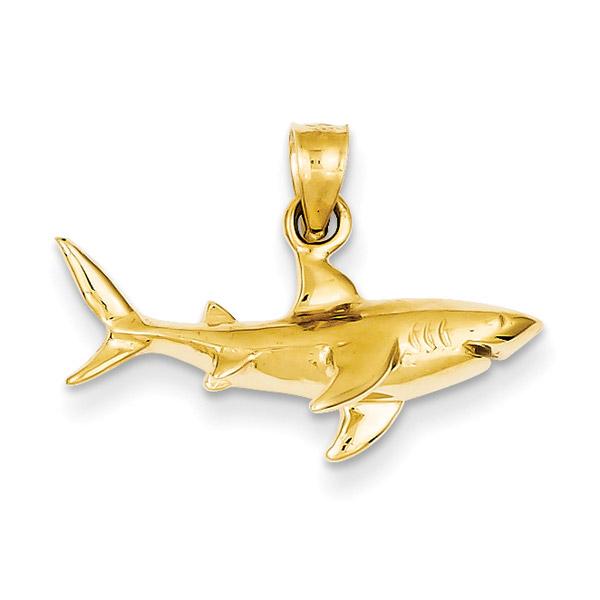 14K Gold Shark Pendant Necklace